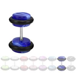 Fake Plug Ohrstecker in Acryl marmoriert  blau 6 mm
