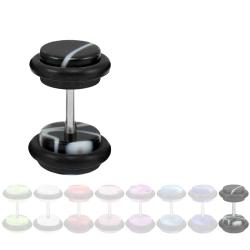 Fake Plug Ohrstecker in Acryl marmoriert schwarz 8 mm