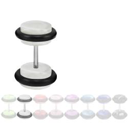 Fake Plug Ohrstecker in Acryl marmoriert transparent 6 mm