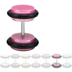 Fake Plug Ohrstecker Shiny Pastel pink 8 mm