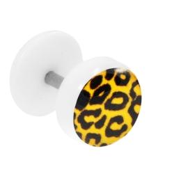 Fake Plug Ohrstecker mit Motiv Leopard orange
