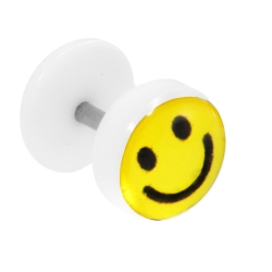 Fake Plug Ohrstecker mit Motiv Smiley