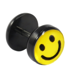 Fake Plug Ohrstecker mit Smiley-Motiv