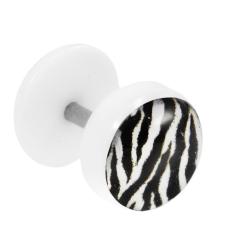 Fake Plug Ohrstecker mit Motiv Zebra