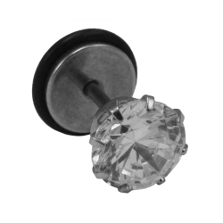 Fake Plug Ohrstecker mit Glaskristall