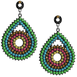 Fashion Earrings Ohrstecker Tropfen mit Strass und Glas in multicolor