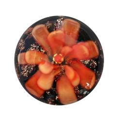 Cabochon Klebstein mit orangener Blume 20mm