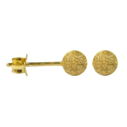 Silber Ohrstecker vergoldet mit Kugel diamantiert
