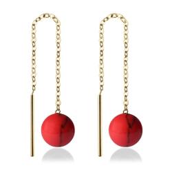 333 Gelbgold Durchzieher Ohrringe mit roter Koralle