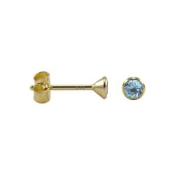Kelchohrstecker Gold mit Blautopaz