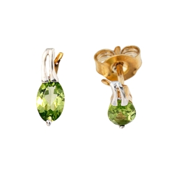 Gold Ohrstecker bicolor mit Peridot 333er Gelbgold