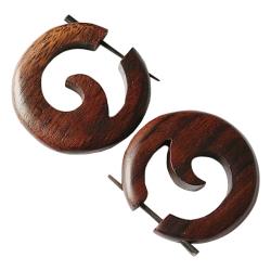 runde Holzohrstecker in dunkelbraun