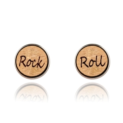 Holzohrstecker Edelstahl mit Rock 'n' Roll in Buchenholz