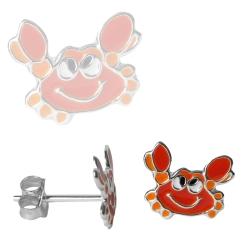 Ohrstecker Sterling Silber mit orangenen Krabben