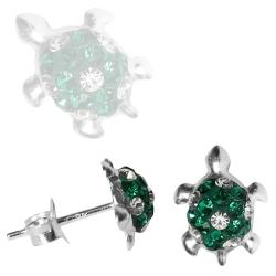 Ohrstecker Sterling Silber mit Schildkröten in grün-weiß