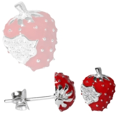 Ohrstecker 925er Sterling Silber mit Erdbeeren