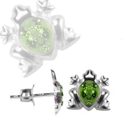 Ohrstecker Frosch in grün mit Zirkonia