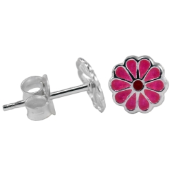 Ohrstecker 925 Sterling Silber pinke Blume