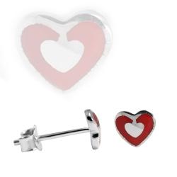 Ohrstecker mit rotgerahmten Herz 925 Sterling Silber