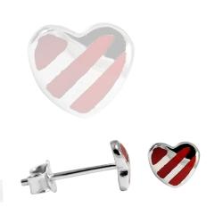 Ohrstecker 925 Sterling Silber mit rotgestreiften Herz