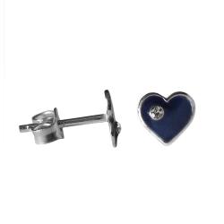 Ohrstecker blaues Herz 925 Sterling Silber mit Zirkonia