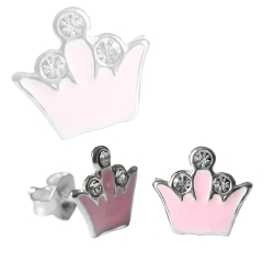 Ohrstecker 925 Sterling Silber mit Krone in pink