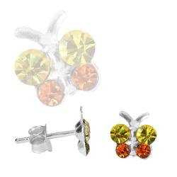 Ohrstecker Sterling Silber Schmetterling mit Zirkonia in gelb