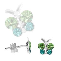Ohrstecker Sterling Silber Schmetterling mit Zirkonia in grün