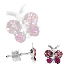 Ohrstecker Sterling Silber Schmetterling mit Zirkonia in pink