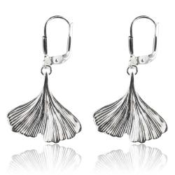 925 Sterling Silber Klappbrisuren Ohrringe mit Ginkgo Blatt