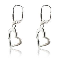 925 Sterling Silber Klappbrisuren Ohrringe mit Herz