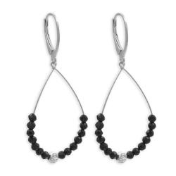 925 Sterling Silber Klappbrisuren Ohrringe Ohrhänger mit schwarzen Kristallen