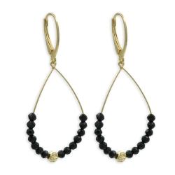 925 Sterling Silber Klappbrisuren Ohrringe Ohrhänger vergoldet mit schwarzen Kristallen