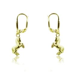 333 Gelbgold Klappbrisuren Ohrringe mit Pferd