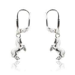 925 Sterling Silber Klappbrisuren Ohrringe mit Pferd