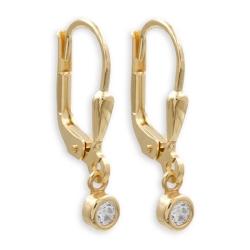 925 Sterling Silber Klappbrisuren Ohrringe vergoldet mit rundem Zirkonia