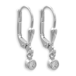 925 Sterling Silber Klappbrisuren Ohrringe mit rundem Zirkonia