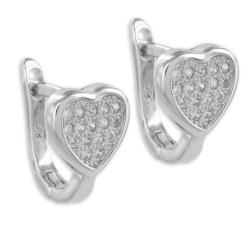 925 Sterling Silber Klappcreolen Ohrringe Herz mit Zirkonia