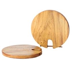 kreisförmiger Holzohrstecker hellbraun