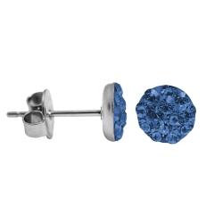 Kristalliner Ohrstecker Chirurgenstahl in blau 6 mm