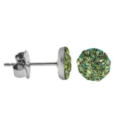 Kristalliner Ohrstecker Chirurgenstahl in grün 8 mm