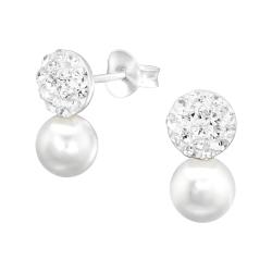 Kristalliner Ohrstecker 925 Sterling Silber mit Perle