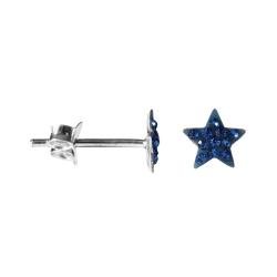 Kristalliner Stern Ohrstecker Chirurgenstahl in blau