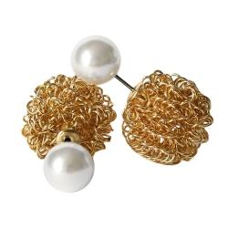 Kugelohrstecker mit goldener Drahtkugel und Perle