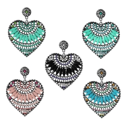 Modeschmuck Ohrstecker Metall Herzen mit Glas und Strasssteinen