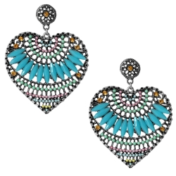 Modeschmuck Ohrstecker Metall Herzen mit Glas und Strasssteinen in blau