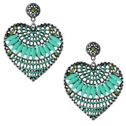 Modeschmuck Ohrstecker Metall Herzen mit Glas und Strasssteinen in grün
