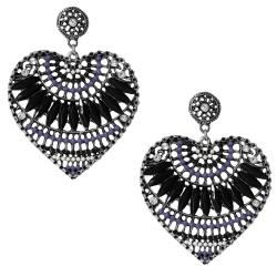 Modeschmuck Ohrstecker Metall Herzen mit Glas und Strasssteinen in schwarz