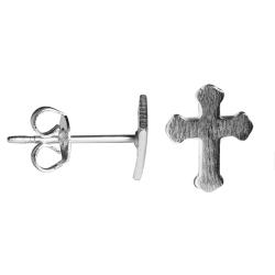Modeschmuck Ohrstecker Kreuz Messing versilbert
