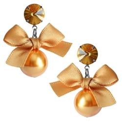 Modeschmuck Ohrstecker mit Perle und Schleife in orange